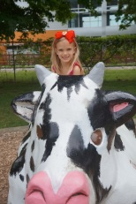 Okay, we do live in the Dairy State...so of course there is a bovine for kids to play upon.
