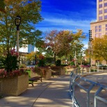 This is one of the walking paths in Red Arrow Park, a green space in the center of downtown Milwaukee. Its design is more similar to an Italian piazza than a typical American park.
