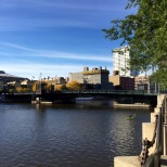 Looking north along the Milwaukee River, you can see the famous Usinger Sausage Factory.