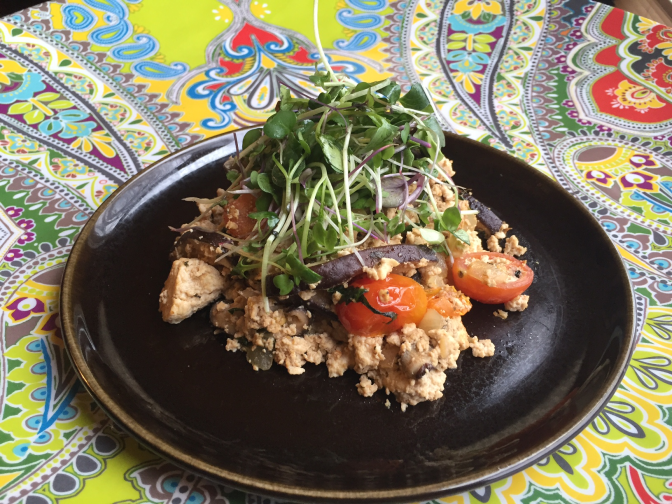 Vegan Brunch: Shiitake Mushroom Tofu Scramble With Micro Greens